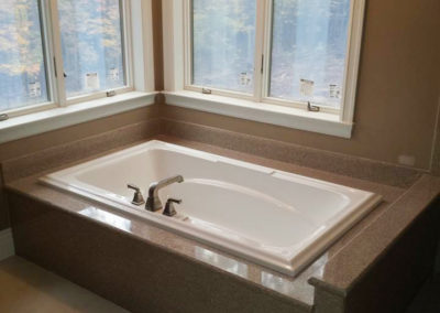 Marble counters around a bath tub