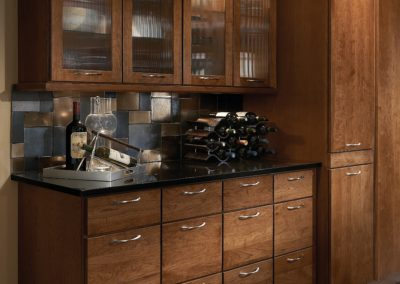 Wet Bar with Brown Cabinets