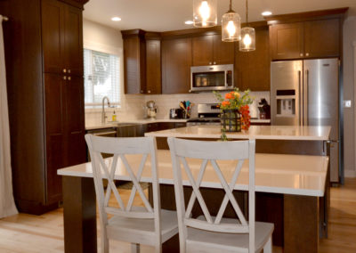 Transitional Kitchen with Hanging Lights