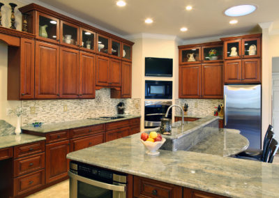 Kitchen with Cherry Red Cabinets from Shiloh